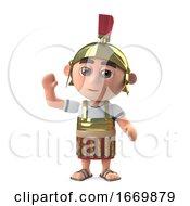 3d Roman Centurion Soldier Waves Hello