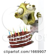 3d Green Zombie Holding A Birthday Cake On A White Background by Julos