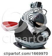 Poster, Art Print Of 3d Business Zebra On A White Background