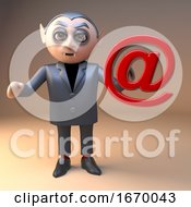 Poster, Art Print Of Dracula Vampire Cartoon 3d Halloween Character Holding An Email Adress Internet Symbol 3d Illustration