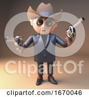 Poster, Art Print Of Vampire Dracula Cartoon 3d Halloween Monster Wearing A Cowboy Stetson Hat And Pointing Two Pistols 3d Illustration
