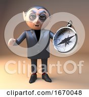 Poster, Art Print Of Dracula Vampire Halloween Character In 3d Holding A Navigational Magnetic Compass 3d Illustration