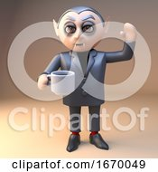 Cartoon 3d Dracula Vampire Halloween Character Waving And Drinking A Cup Of Coffee 3d Illustration