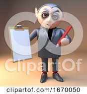 Poster, Art Print Of 3d Cartoon Dracula Vampire Halloween Character Holding A Clipboard And Pencil 3d Illustration