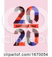 Happy New Year 2020 Design Multicolored Abstract Numbers With Stripes And Ribbons On Pink Background Elegant Vector Illustration In Retro Style For Holiday Calendar Or Greeting Card