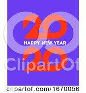 Happy New Year 2020 Logo Design With Orange Geometric Numbers On Purple Background Modern Vector Illustration For Business Diary Cover Calendar Or Flyer