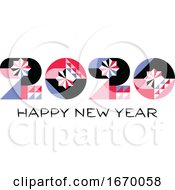 09/22/2019 - Happy New Year 2020 Logo With Multicolored Geometric Numbers With Abstract Design Elements On White Background Modern Vector Illustration For Printed Matter Or Web Design