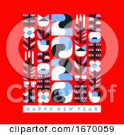 Happy New Year 2020 Greeting Card Elegant Numbers With Geometric Flowers And Plants On Vibrant Red Background Abstract Vector Illustration For Brochure Cover Or Holiday Calendar