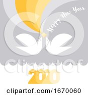 Happy New Year 2020 Greeting Card With Yellow Star And Two Flying White Birds Of Peace