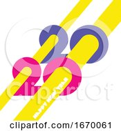 09/22/2019 - Happy New Year 2020 Logo Design With Colorful Geometric Numbers And Yellow Abstract Beams On White Background Modern Vector Illustration For Printed Matter Or Web Design