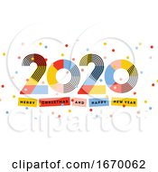 Merry Christmas And Happy New Year 2020 Greeting Card Multicolored Abstract Numbers With Ribbons And Confetti Isolated On White Background Elegant Vector Illustration In Retro Style