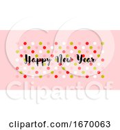 Cute Greeting Card With Wishes Of Happy New Year On Multicolored Polka Dot Background Stylish Vector Illustration For Holiday Calendar Book Or Brochure