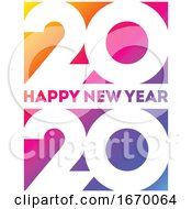 Happy New Year 2020 Logo Design With White Elegant Numbers On Background Of Vivid Rainbow Gradient Modern Vector Illustration For Business Diary Cover Calendar Flyer Or Banner