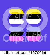 Multicolored Numbers 2020 And Happy New Year Greetings On Purple Background Elegant Vector Illustration In Retro Style For Greeting Card Holiday Calendar Or Brochure