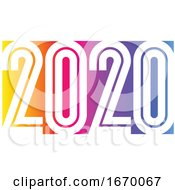 2020 New Year Logo Design With Elegant Condensed Numbers On Background Of Vivid Rainbow Gradient Modern Vector Illustration For Greeting Card Holiday Calendar Book Or Brochure