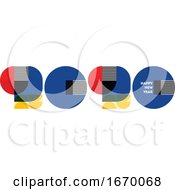 Bauhaus Style Numbers 2020 And Happy New Year Greetings Isolated On White Background Elegant Retro Vector Illustration For Greeting Card Holiday Calendar Flyer Or Banner