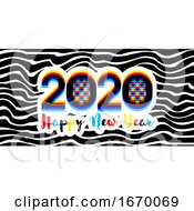 09/22/2019 - Modern Multicolored Numbers 2020 With Stereoscopic Effect And Happy New Year Greetings On Black White Striped Background Stylish Vector Illustration For Holiday Calendar Flyer Or