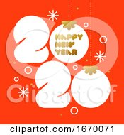 Happy New Year 2020 Greeting Card With Xmas Balls And White Rounded Big Numbers On Red Background Modern Vector Illustration For Diary Cover Brochure Or Calendar