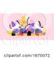 Happy New Year 2020 Greeting Card Multicolored Numbers With Tropical Palm Leaves And White Birds On Pink Background Stylish Vector Illustration For Brochure Cover Or Holiday Calendar