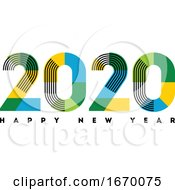 Happy New Year 2020 Design Abstract Numbers With Stripes And Color Blocks Isolated On White Background Elegant Vector Illustration In Modern Style For Holiday Calendar Greeting Card Or Banner