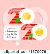 Colorful Numbers 2020 Look like Eggs with Bacon and Greetings of Happy and Tasty New Year. Modern Vector Illustration for Cover of Food and Cook Theme Brochure or Calendar by elena #COLLC1670076-0147