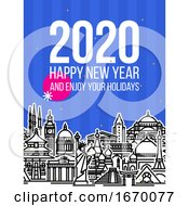 Modern Style Numbers 2020 With Cityscape Of Worlds Most Popular Tourist Attractions And Happy New Year Greetings On Blue Background Modern Vector Illustration For Printed Matter Or Web Design