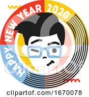 Young Winking And Smiling Male Character In Round Frame With Text Happy New Year 2020 Cute Badge Isolated On White Background Flat Style Vector Illustration For Seasonal Design