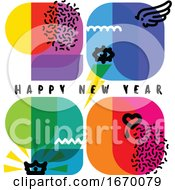 Happy New Year 2020 Greeting Card. Multicolored Numbers with Cool Design Elements like Wing, Eye, Crown, Heart on White Background. Retro Style Vector Illustration for Brochure Cover or Web Page by elena #COLLC1670079-0147