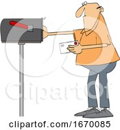 Cartoon Man Putting A Letter In A Mailbox