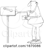 Poster, Art Print Of Cartoon Man Putting A Letter In A Mailbox
