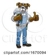 09/22/2019 - Bulldog Mascot Carpenter Handyman Holding Hammer