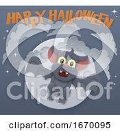 Halloween Cute Vampire Bat Flying In Front Of Moon by AtStockIllustration