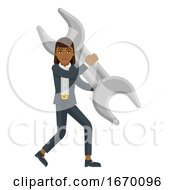 Business Woman Holding Spanner Wrench Concept