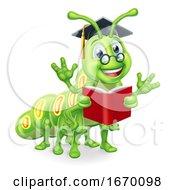 Poster, Art Print Of Reading Book Worm Caterpillar