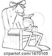Cartoon Moose Sitting In A Chair And Eating Chips
