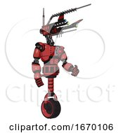 Cyborg Containing Dual Retro Camera Head And Communications Array Head And Light Chest Exoshielding And Red Energy Core And Unicycle Wheel Primary Red Halftone Facing Left View