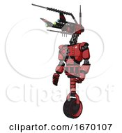 Cyborg Containing Dual Retro Camera Head And Communications Array Head And Light Chest Exoshielding And Red Energy Core And Unicycle Wheel Primary Red Halftone Facing Right View