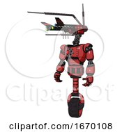 Cyborg Containing Dual Retro Camera Head And Communications Array Head And Light Chest Exoshielding And Red Energy Core And Unicycle Wheel Primary Red Halftone Standing Looking Right Restful Pose