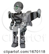 Droid Containing Grey Alien Style Head And Green Demon Eyes And Light Chest Exoshielding And Rubber Chain Sash And Stellar Jet Wing Rocket Pack And Prototype Exoplate Legs Patent Concrete Gray Metal