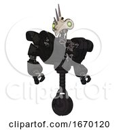 Robot Containing Bird Skull Head And Green Eyes And Heavy Upper Chest And Heavy Mech Chest And Unicycle Wheel Toon Black Scribbles Sketch Hero Pose