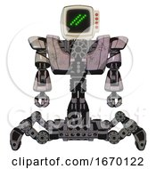 Robot Containing Old Computer Monitor And Double Backslash Pixel Design And Red Buttons And Heavy Upper Chest And Heavy Mech Chest And Insect Walker Legs Gray Metal Front View