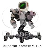 Robot Containing Old Computer Monitor And Double Backslash Pixel Design And Red Buttons And Heavy Upper Chest And Heavy Mech Chest And Insect Walker Legs Gray Metal Hero Pose