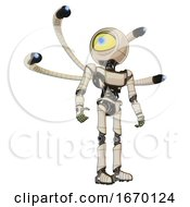 Cyborg Containing Giant Eyeball Head Design And Light Chest Exoshielding And Ultralight Chest Exosuit And Blue Eye Cam Cable Tentacles And Ultralight Foot Exosuit Off White Toon Hero Pose
