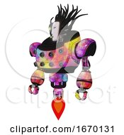 Poster, Art Print Of Automaton Containing Humanoid Face Mask And Two-Face Black White Mask And Heavy Upper Chest And Chest Energy Sockets And Jet Propulsion Plasma Burst Standing Looking Right Restful Pose