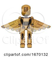 Bot Containing Round Head And Three Lens Sentinel Visor And Light Chest Exoshielding And Ultralight Chest Exosuit And Cherub Wings Design And Prototype Exoplate Legs Construction Yellow Halftone