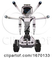 Automaton Containing Digital Display Head And Sleeping Face And Led And Protection Bars And Light Chest Exoshielding And Ultralight Chest Exosuit And Blue Eye Cam Cable Tentacles And Tank Tracks