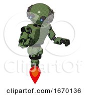 Android Containing Oval Wide Head And Telescopic Steampunk Eyes And Steampunk Iron Bands With Bolts And Light Chest Exoshielding And Prototype Exoplate Chest And Jet Propulsion Grass Green