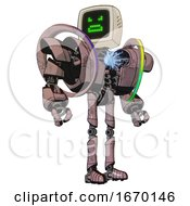 Mech Containing Old Computer Monitor And Angry Pixels Face And Heavy Upper Chest And Heavy Mech Chest And Spectrum Fusion Core Chest And Ultralight Foot Exosuit Grayish Pink Hero Pose
