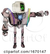 Mech Containing Old Computer Monitor And Angry Pixels Face And Heavy Upper Chest And Heavy Mech Chest And Spectrum Fusion Core Chest And Ultralight Foot Exosuit Grayish Pink