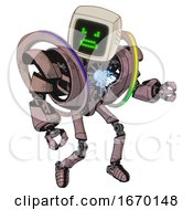 Mech Containing Old Computer Monitor And Angry Pixels Face And Heavy Upper Chest And Heavy Mech Chest And Spectrum Fusion Core Chest And Ultralight Foot Exosuit Grayish Pink Fight Or Defense Pose